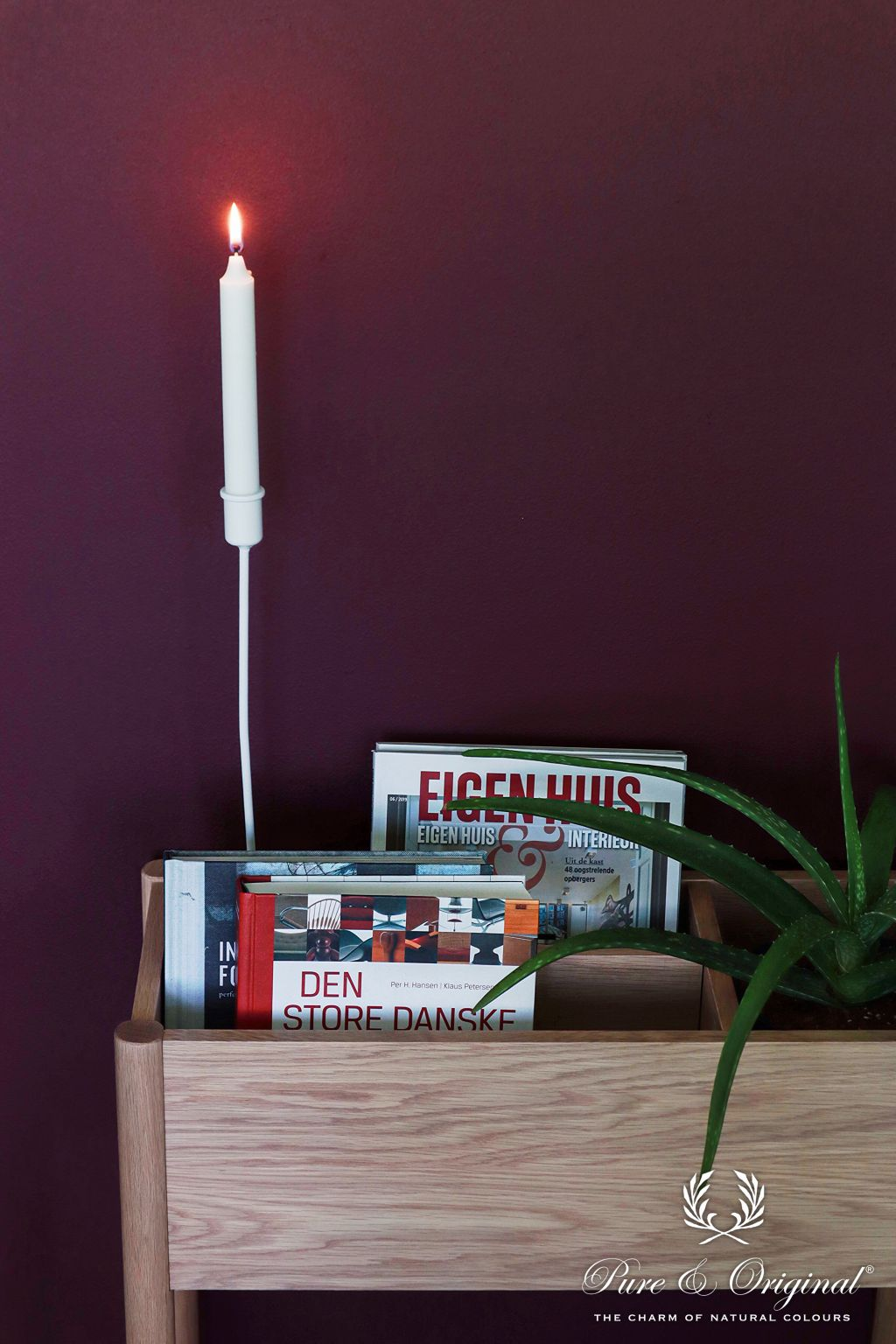 Plum dark purple wall with plant, magazine stand, and candle