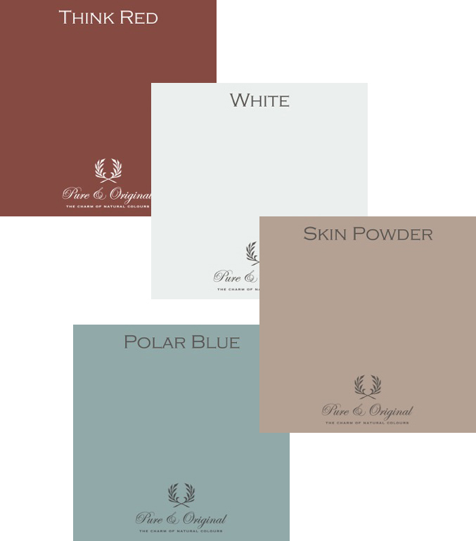 Pure & Original colours in Think Red, White, Skin Powder and Polar Blue