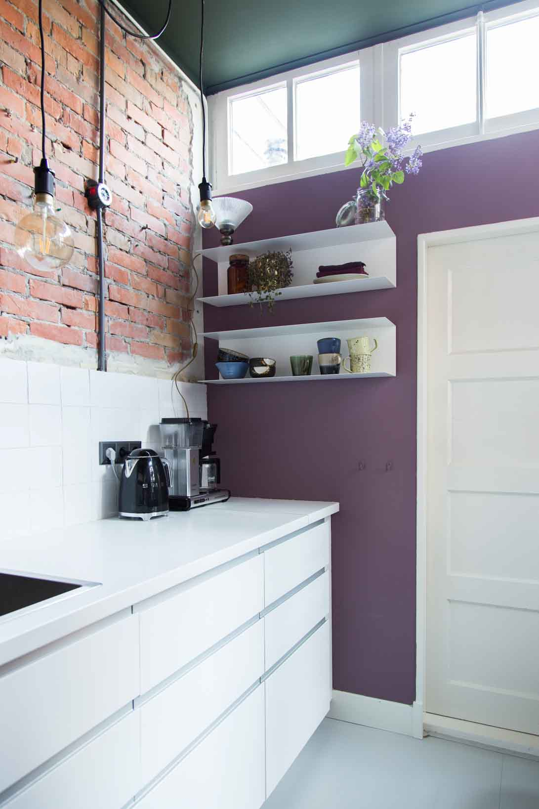 Dusty Lavender a soft pinkish purple tone in the kitchen