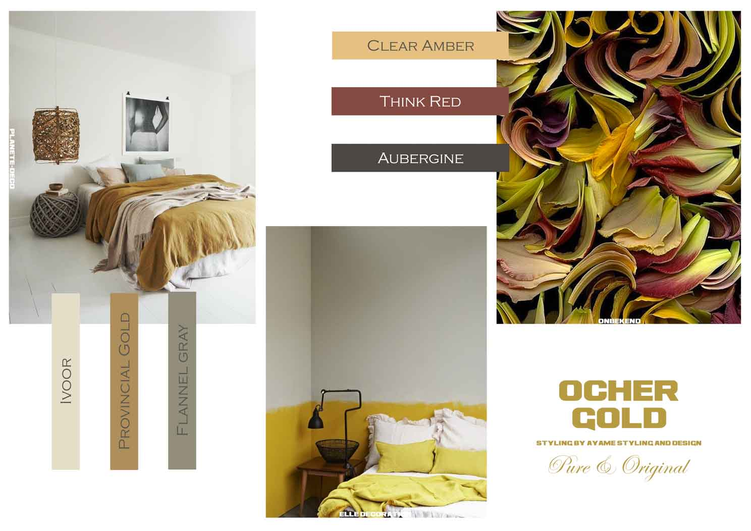 Ochre gold mood board with yellows, beiges, and reds