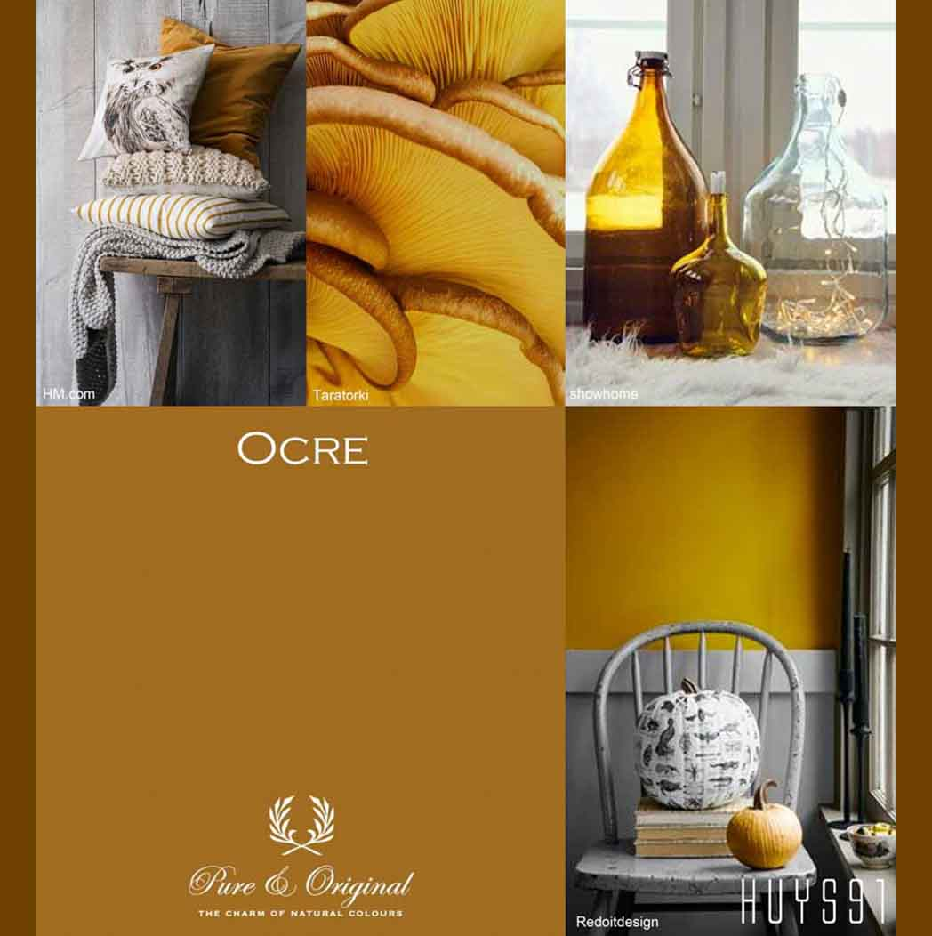 Ochre mood board with blankets, pillows, and decorative objects