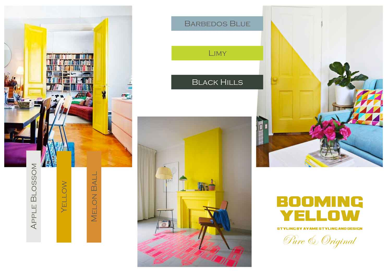 Booming yellow moodboards with yellows, greens, and blues