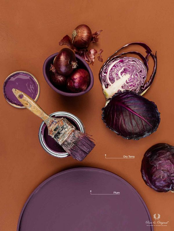 Create a stunning interior by combining two strong colours as orange and purple: Dry Terra and Plum