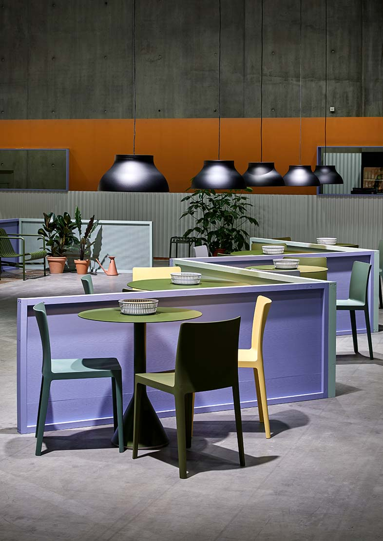 Colour inspiration in purple, green, orange and  yellow for outside with garden chairs and tables