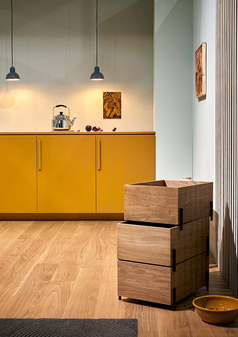 Kitchen inspiration in yellow, green and blue colours