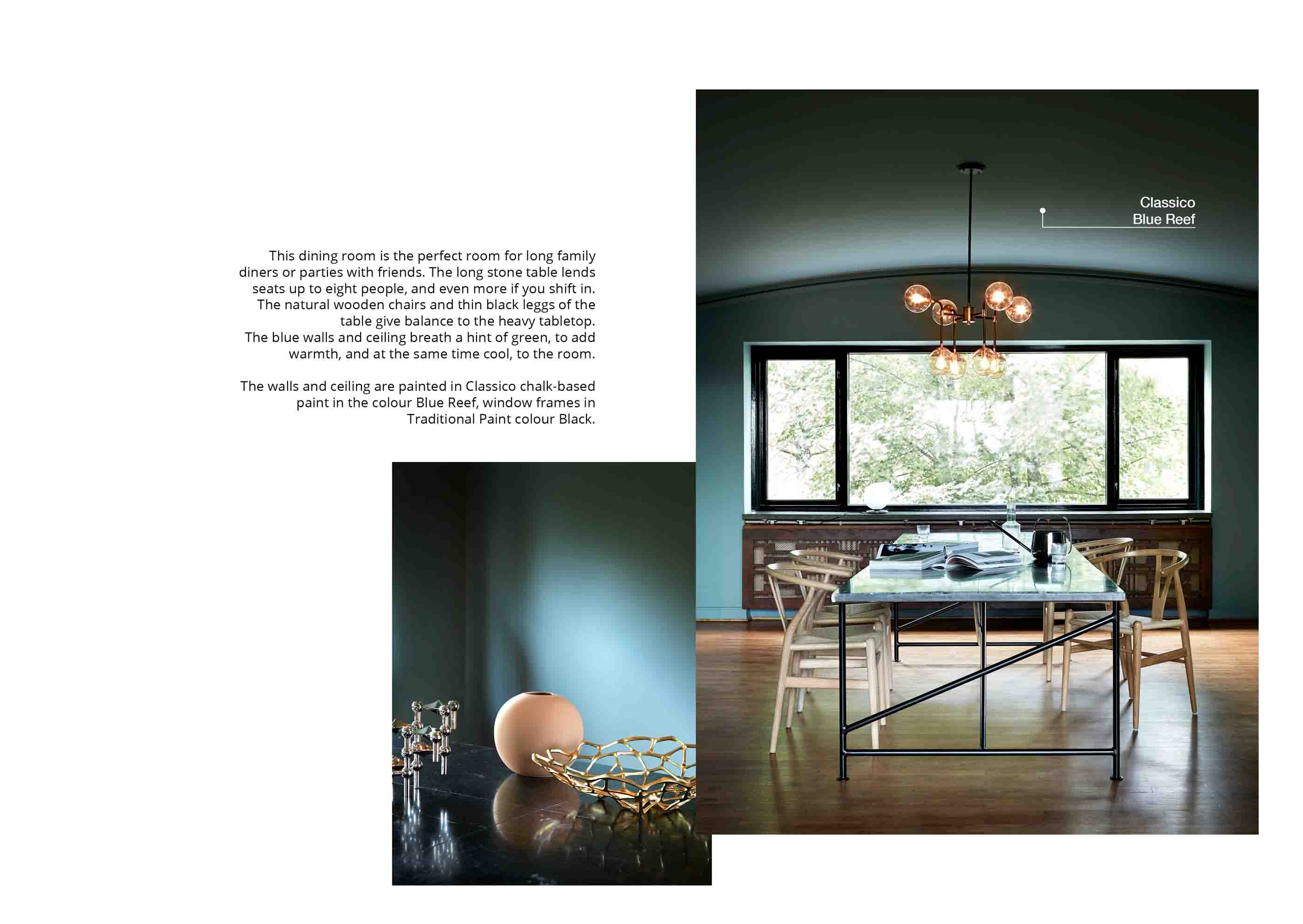 Dining room in a soft blue green shade