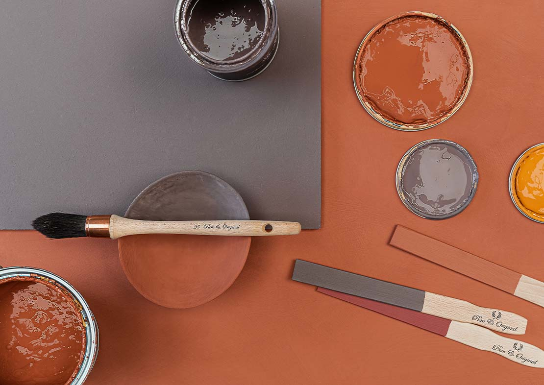 Colour palette grey purple orange yellow paint brush can pure original