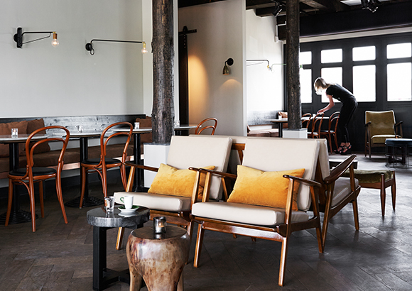 restaurant with white walls and black ceiling