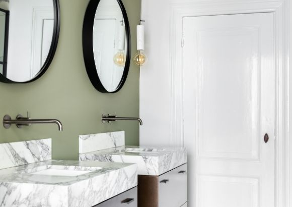 Silk White Tradtional Paint high-gloss badkamer bathroom Iris Floor Pure Original