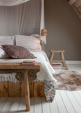 Floor Paint in the colour White, applied in the bedroom