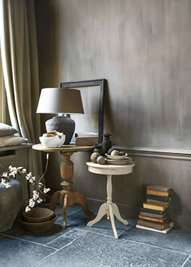 Fresco Lime paint in the colour Hazelnut Butter, applied in the living room