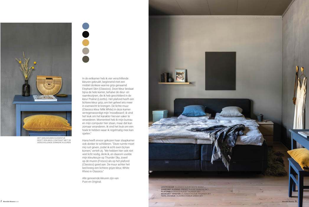 Bedroom in grey lime paint