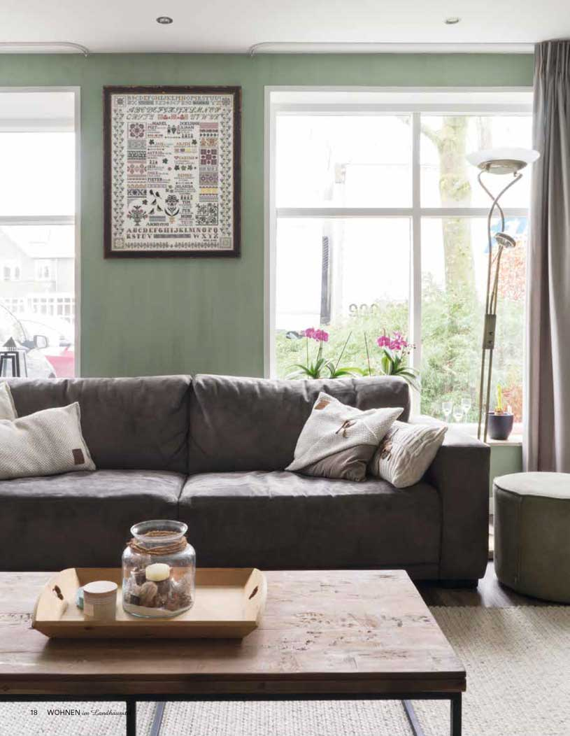 Cosy family home with green dusty walls