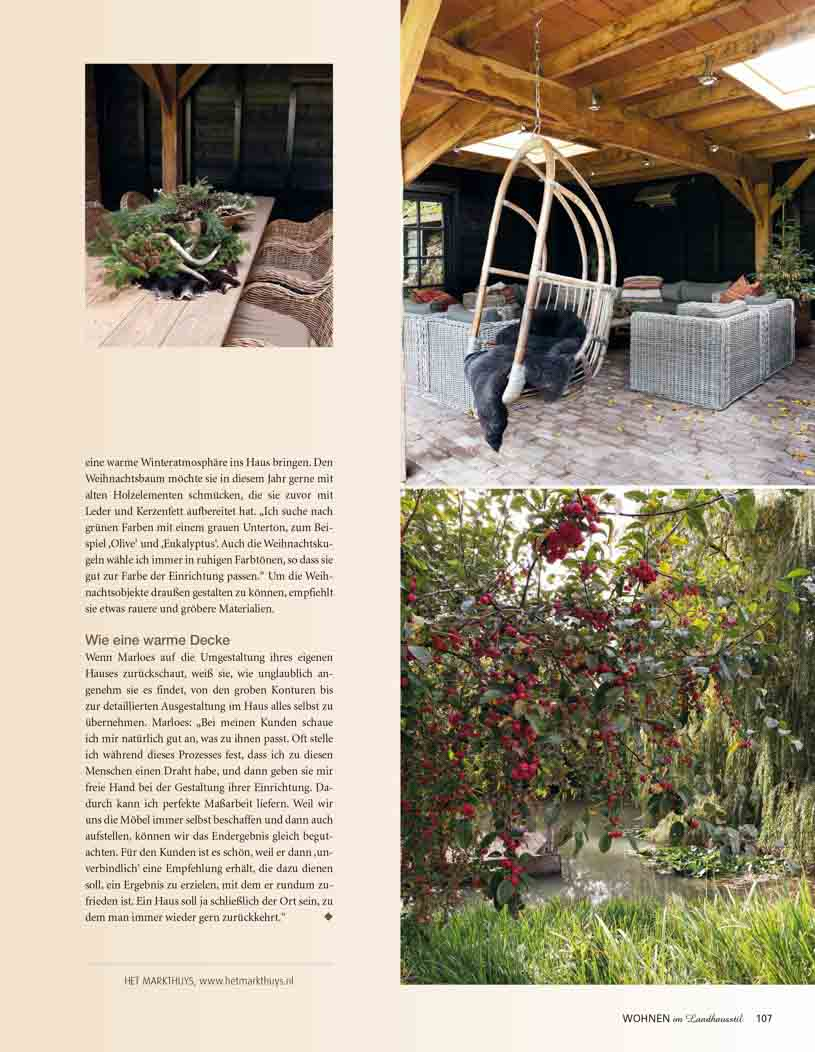 Article with pictures of outside including a hanging chair, barn and a lake surrounded by trees