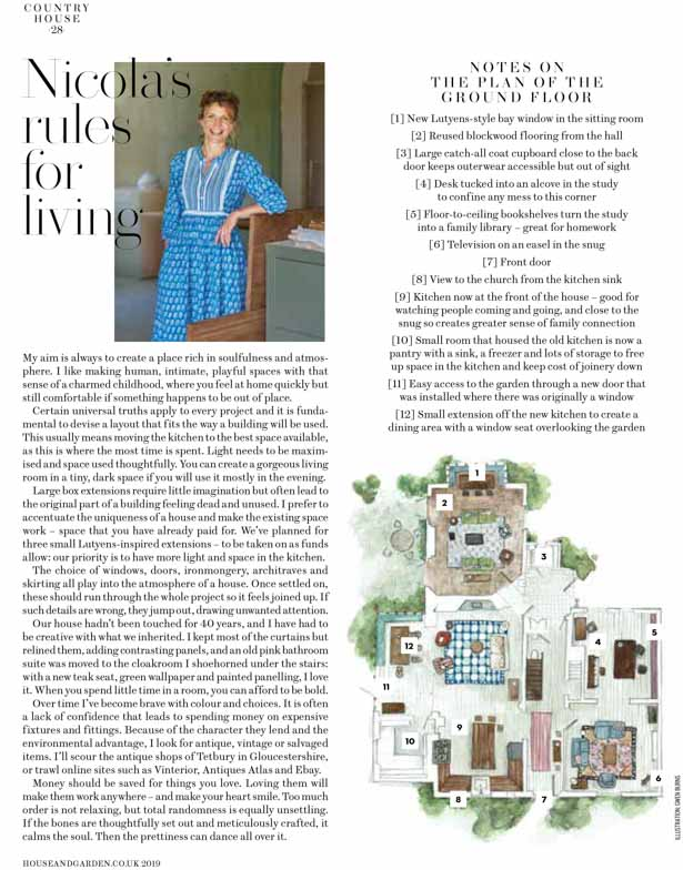 Article with drawn map of the country house and a picture of the owner
