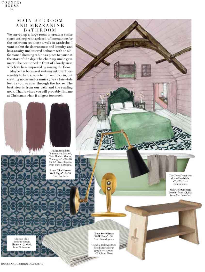 Illustration of the bedroom with paint swatches, wallpaper, and decoration