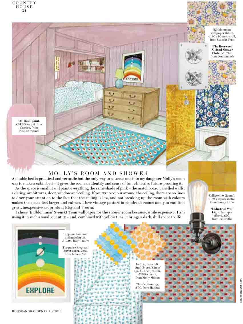 Illustration of pink bedroom with wallpaper swatches and decoration