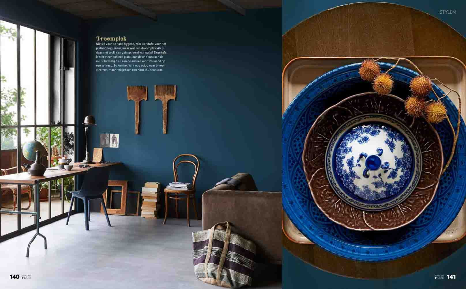Blue and dusty brown tints for an industrial interior