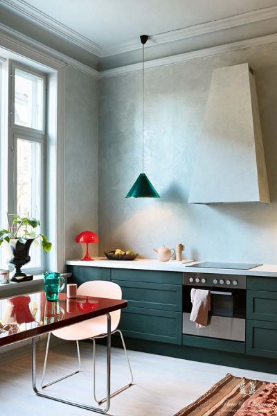 Colour Collection Kitchen With Marrakech Walls And Classico In Polar Blue Lacquer Black Hills