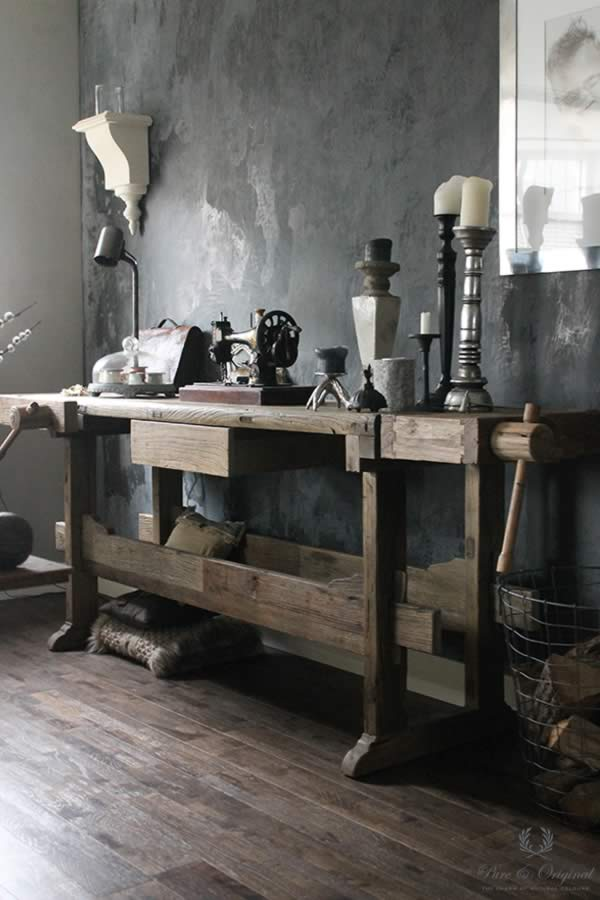 Marrakech Walls in the colour Black Truffle, applied behind the old work table
