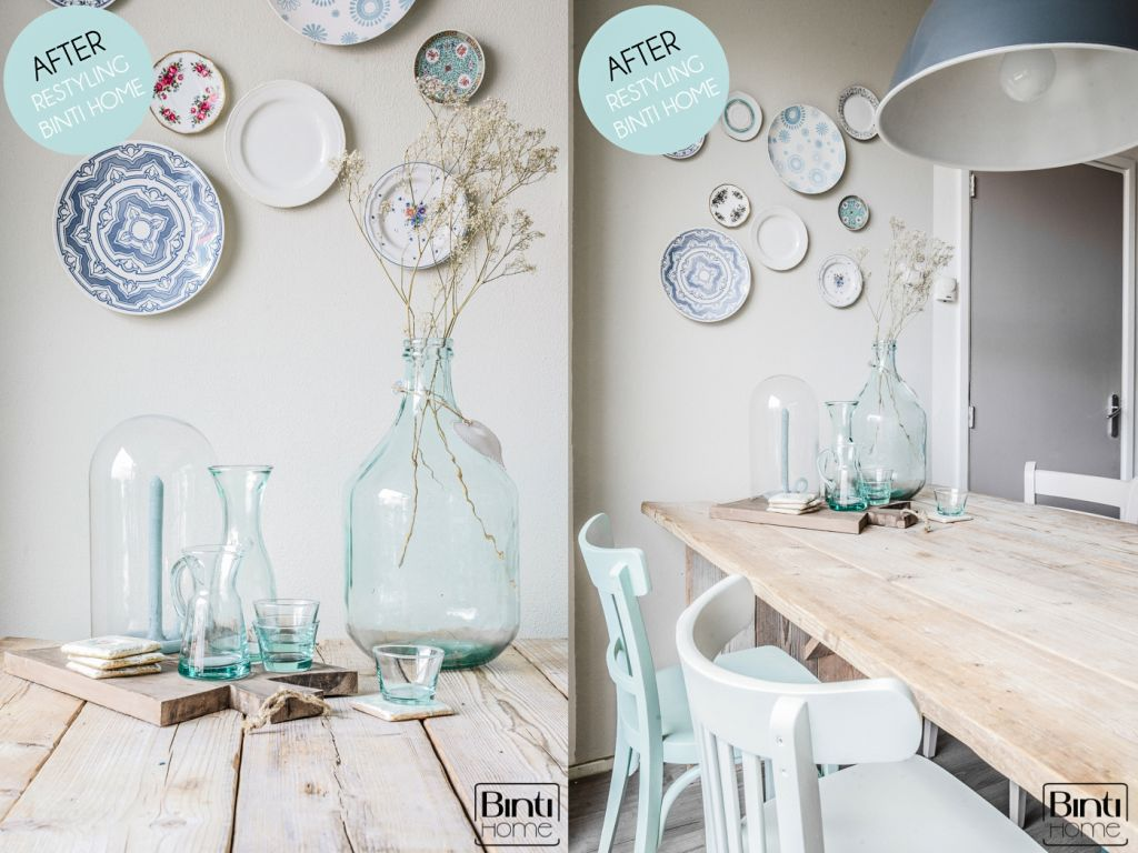 Dining room make-over Binti Home Atria, Poetic Blue, Soft Taupe, Silver Plate, Old Linen